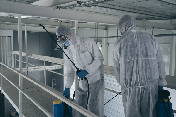 Two service technicians clean an office up to the standards necessary to disinfect COVID-19.